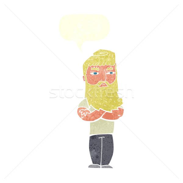 Karikatür ciddi adam sakal konuşma balonu el Stok fotoğraf © lineartestpilot