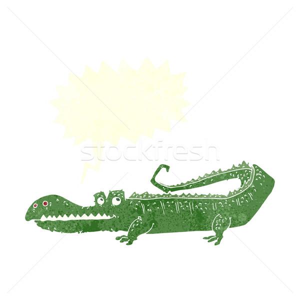 Cartoon cocodrilo bocadillo mano diseno animales Foto stock © lineartestpilot