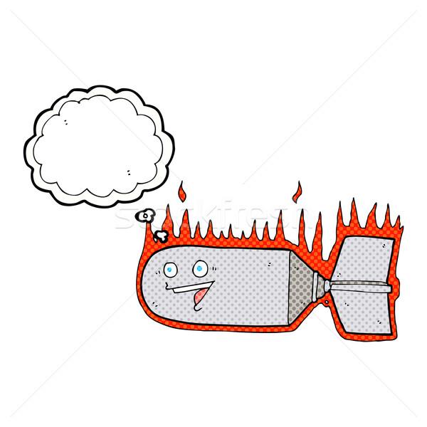 Cartoon падение бомба мысли пузырь стороны дизайна Сток-фото © lineartestpilot