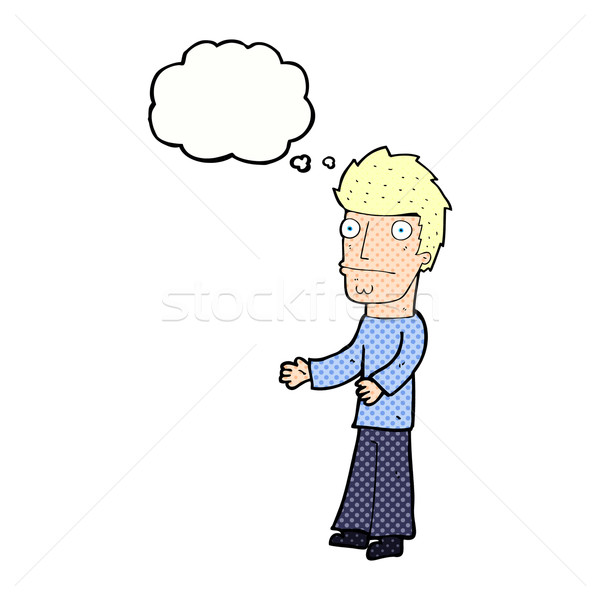 cartoon confused man with thought bubble Stock photo © lineartestpilot