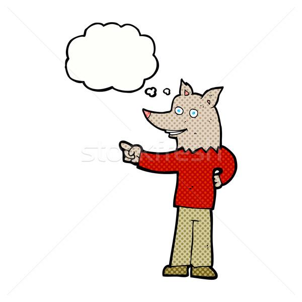 Cartoon wilk człowiek wskazując bubble myśl strony Zdjęcia stock © lineartestpilot
