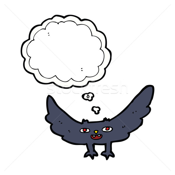 cartoon spooky vampire bat with thought bubble Stock photo © lineartestpilot