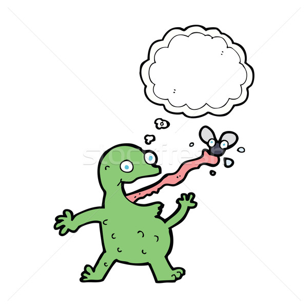Stock photo: cartoon frog catching fly with thought bubble