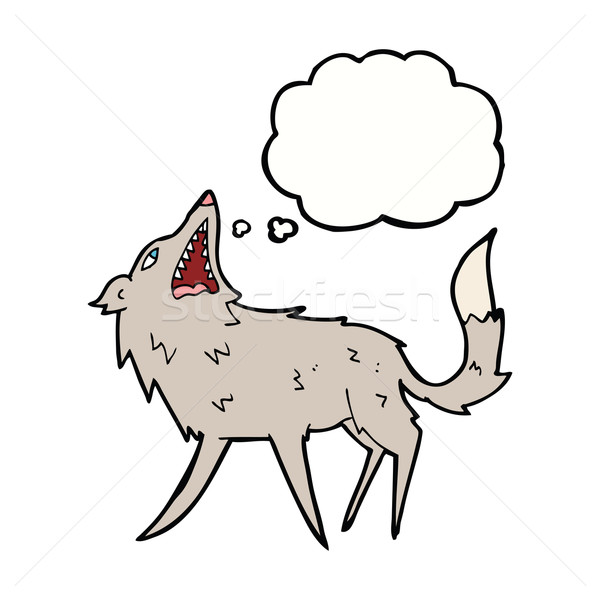 cartoon snapping wolf with thought bubble Stock photo © lineartestpilot