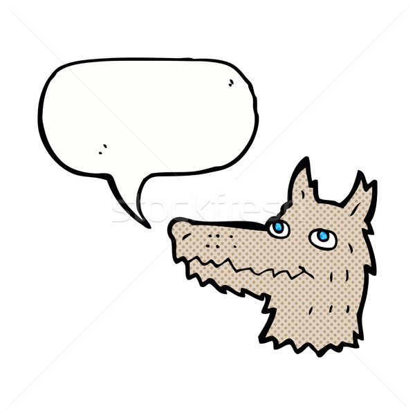 Cartoon волка голову речи пузырь стороны дизайна Сток-фото © lineartestpilot