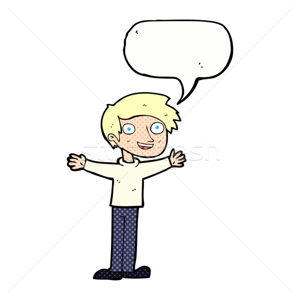 cartoon enthusiastic man with speech bubble Stock photo © lineartestpilot