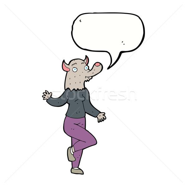 Karikatür dans kurt adam kadın konuşma balonu el Stok fotoğraf © lineartestpilot