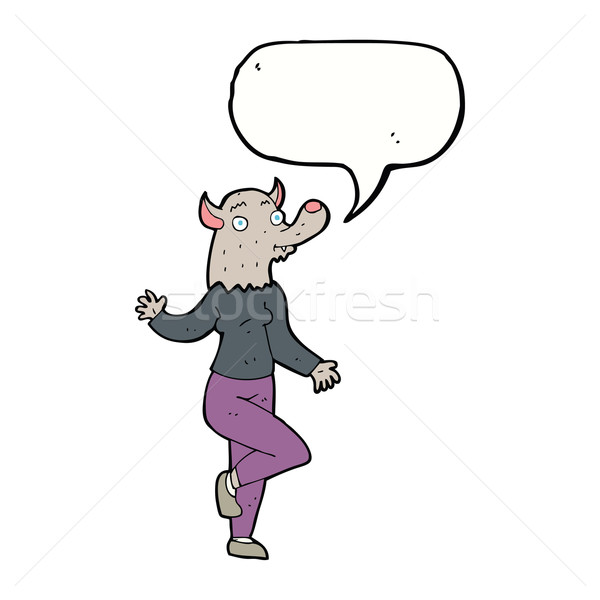 cartoon dancing werewolf woman with speech bubble Stock photo © lineartestpilot