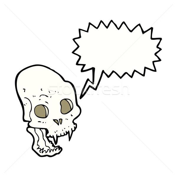 cartoon spooky vampire skull with speech bubble Stock photo © lineartestpilot