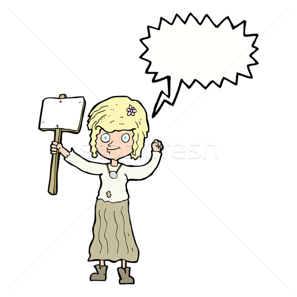 cartoon hippie girl with protest sign with speech bubble Stock photo © lineartestpilot