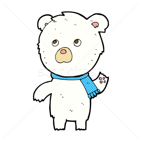 Képregény rajz aranyos jegesmedve retro képregény Stock fotó © lineartestpilot