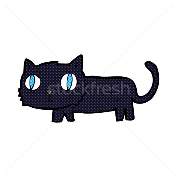 Képregény rajz fekete macska retro képregény stílus Stock fotó © lineartestpilot