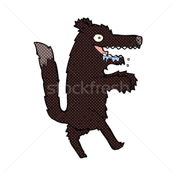 Сток-фото: комического · Cartoon · большой · плохо · волка · ретро