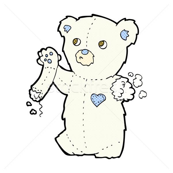 comic cartoon teddy polar bear with torn arm Stock photo © lineartestpilot