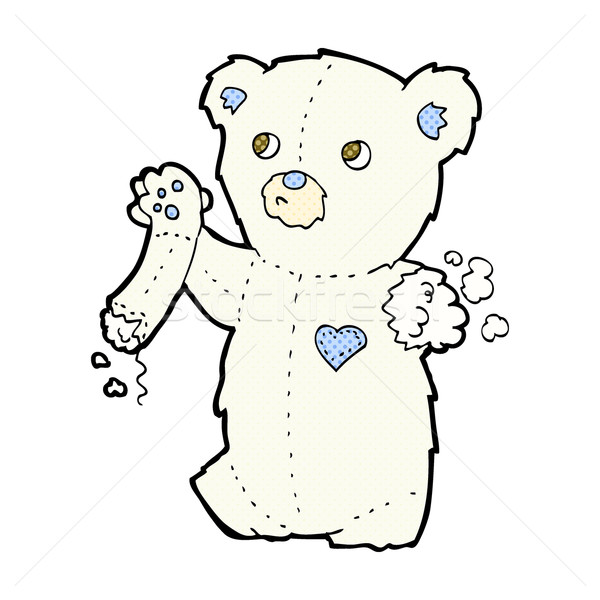 Cômico desenho animado teddy urso polar rasgado braço Foto stock © lineartestpilot