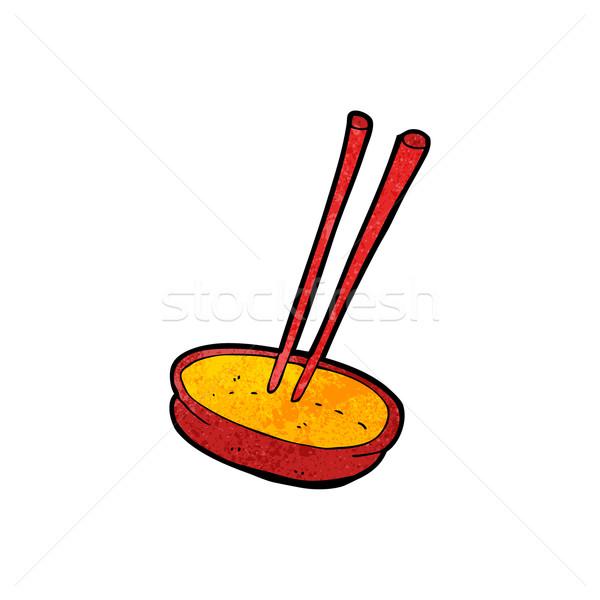 Rajz kínai étel tál étel retro rajz Stock fotó © lineartestpilot