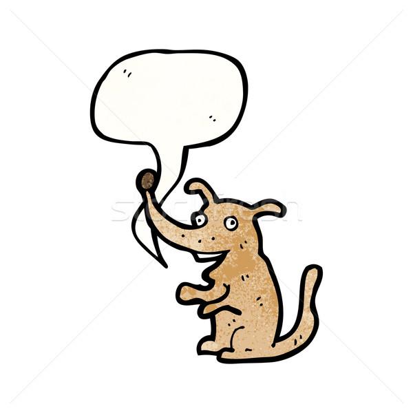 Desenho animado cão balão de fala retro textura isolado Foto stock © lineartestpilot