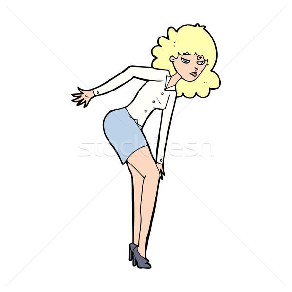 cartoon annoyed woman rubbing knee Stock photo © lineartestpilot