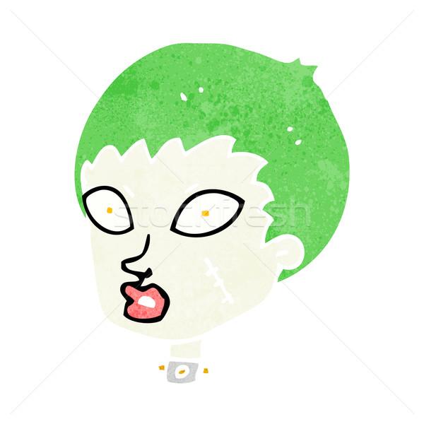 Desen animat femeie zombie cap mână proiect Imagine de stoc © lineartestpilot