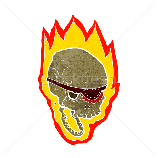 Stock photo: cartoon flaming pirate skull