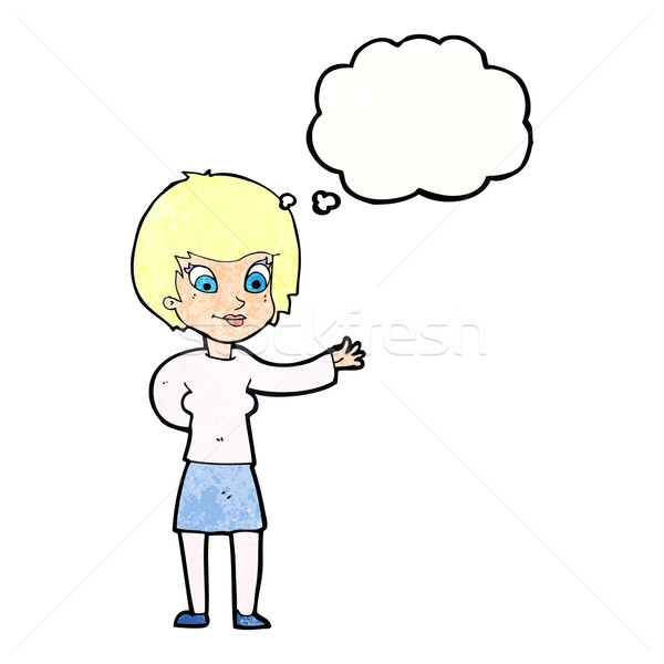 cartoon welcoming woman with thought bubble Stock photo © lineartestpilot