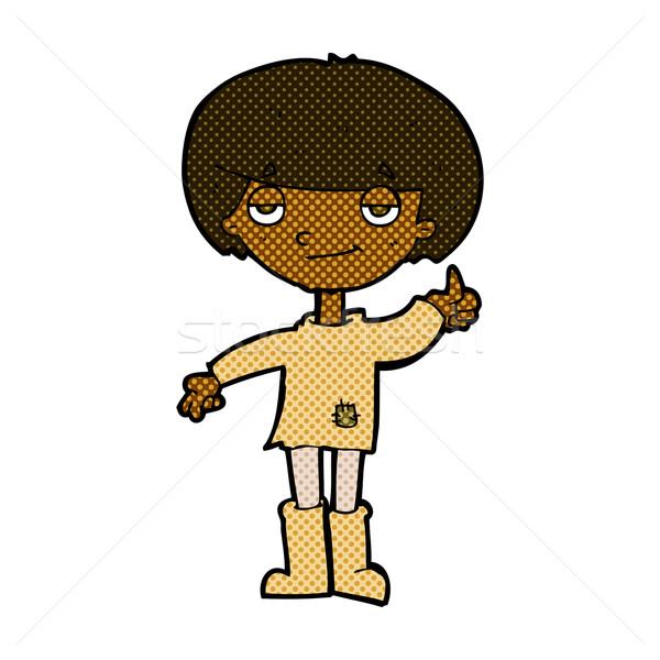 Cômico desenho animado menino pobre roupa Foto stock © lineartestpilot