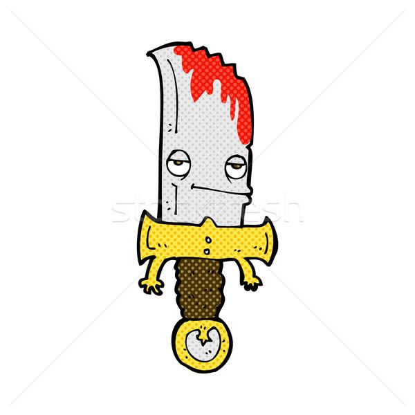 Sangrento faca cômico retro Foto stock © lineartestpilot