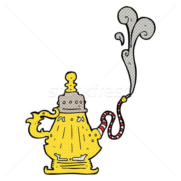 Komische cartoon roken hookah retro Stockfoto © lineartestpilot
