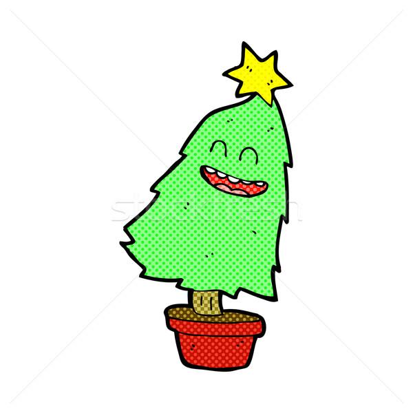 Weihnachtsbaum Comic.Comic Karikatur Tanz Weihnachtsbaum Retro Comic Vektor