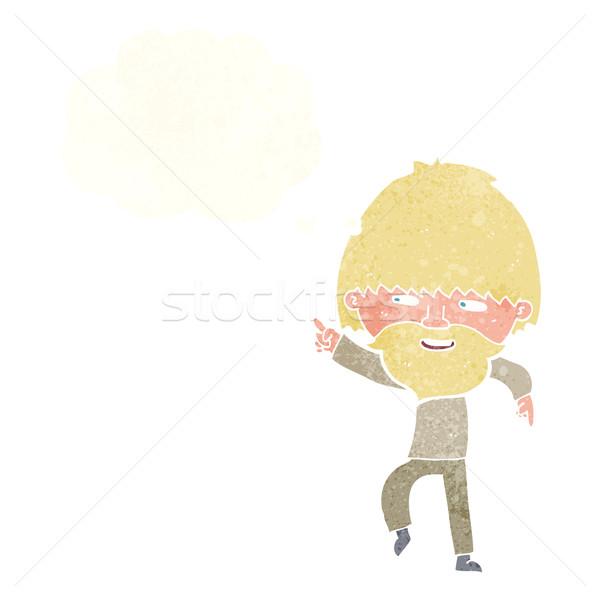 Cartoon barbuto uomo punta ridere bolla di pensiero Foto d'archivio © lineartestpilot