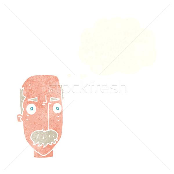 Cartoon molesto viejo burbuja de pensamiento mano cara Foto stock © lineartestpilot