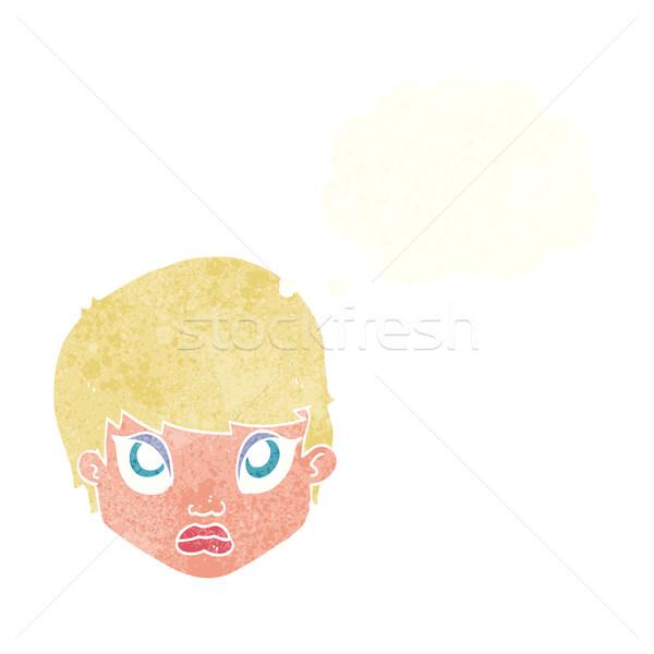 Cartoon mokkend vrouw gedachte bel hand gezicht Stockfoto © lineartestpilot