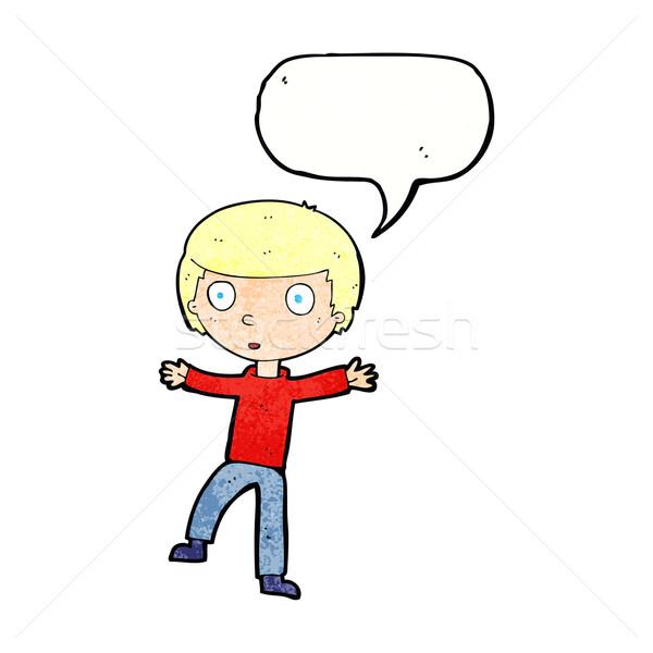 cartoon startled boy with speech bubble Stock photo © lineartestpilot