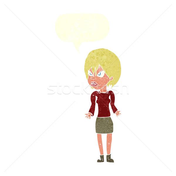Cartoon geërgerd vrouw tekstballon hand ontwerp Stockfoto © lineartestpilot
