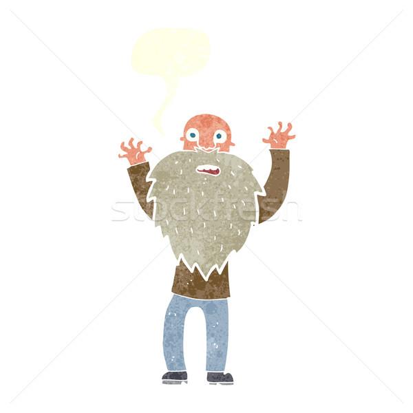 Cartoon bange oude man baard tekstballon hand Stockfoto © lineartestpilot