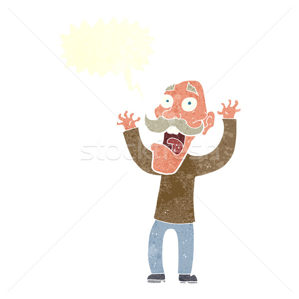 cartoon old man getting a fright with speech bubble Stock photo © lineartestpilot