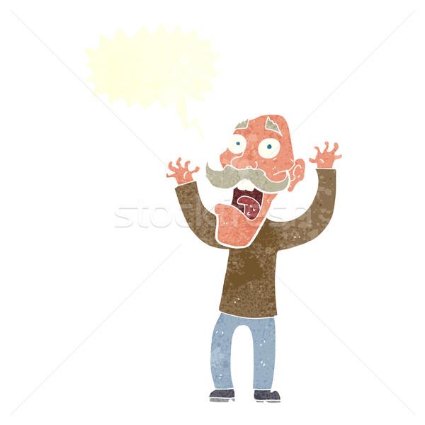 Cartoon старик испуг речи пузырь стороны человека Сток-фото © lineartestpilot