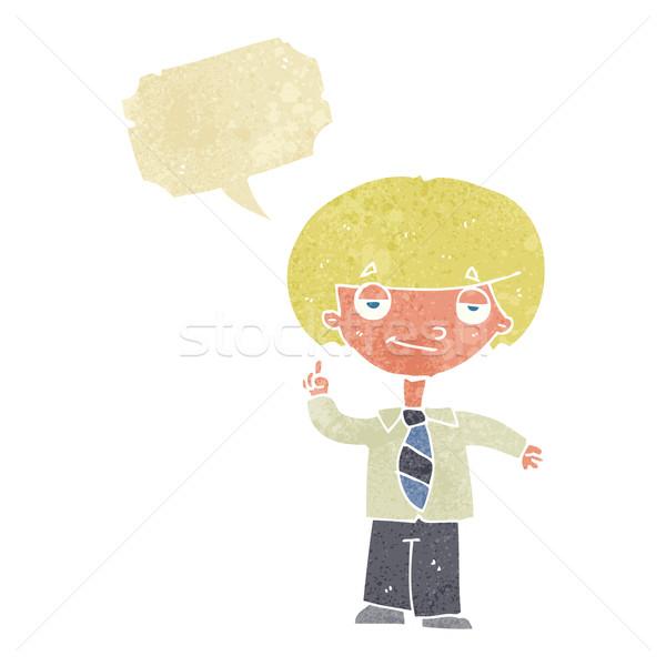 Cartoon школьник вопросе речи пузырь стороны человека Сток-фото © lineartestpilot
