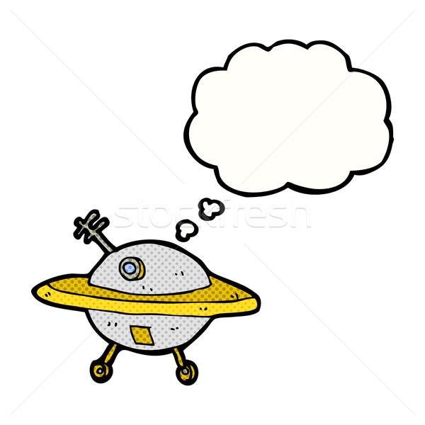 Desenho animado voador pires balão de pensamento mão projeto Foto stock © lineartestpilot