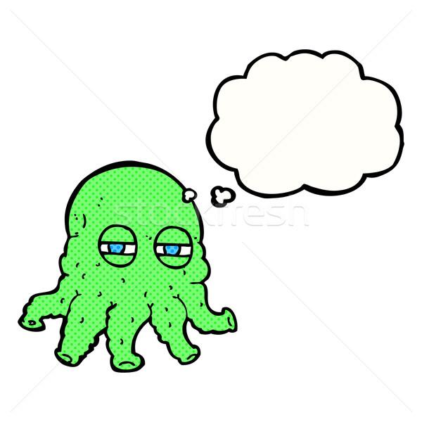 Desenho animado alienígena cara balão de pensamento mão projeto Foto stock © lineartestpilot