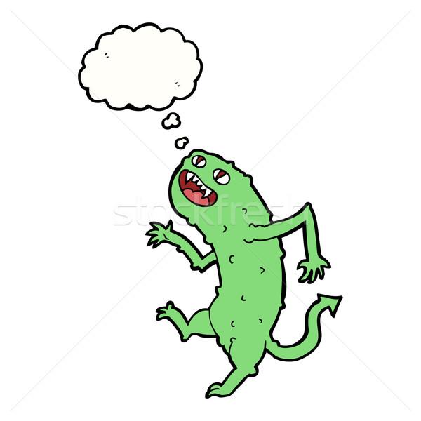 Karikatur Monster Gedankenblase Hand Design Kunst Stock foto © lineartestpilot