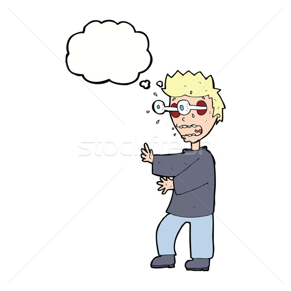 cartoon terrified boy with thought bubble Stock photo © lineartestpilot