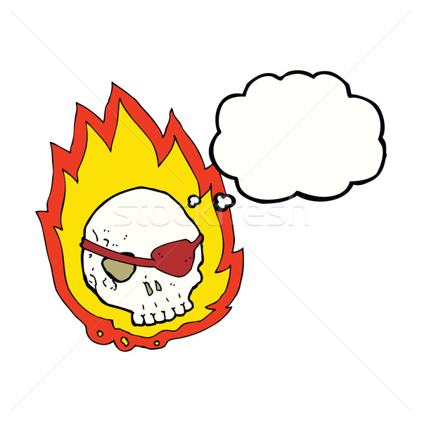 cartoon burning skull with thought bubble Stock photo © lineartestpilot
