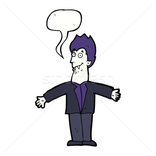 Cartoon vampiro hombre bocadillo mano diseno Foto stock © lineartestpilot