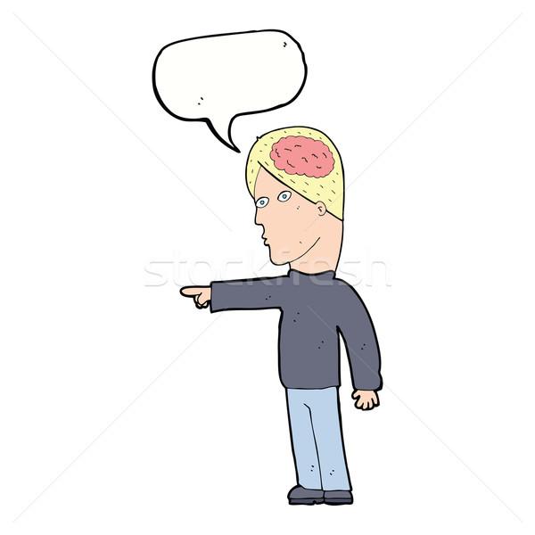 Cartoon mądry człowiek wskazując dymka strony Zdjęcia stock © lineartestpilot
