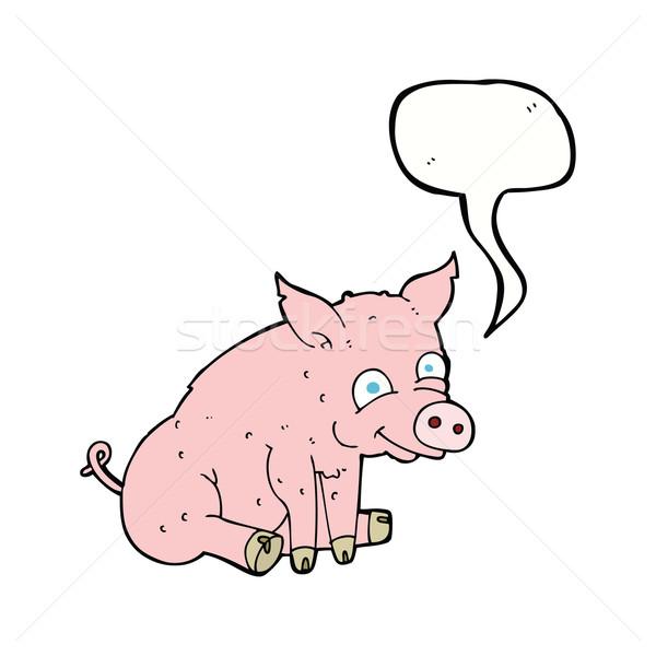 Cartoon счастливым свинья речи пузырь стороны дизайна Сток-фото © lineartestpilot