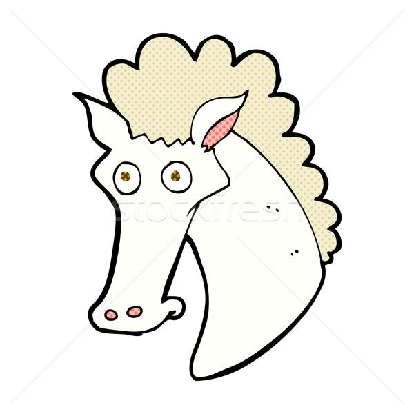 Cómico Cartoon caballo cabeza retro Foto stock © lineartestpilot