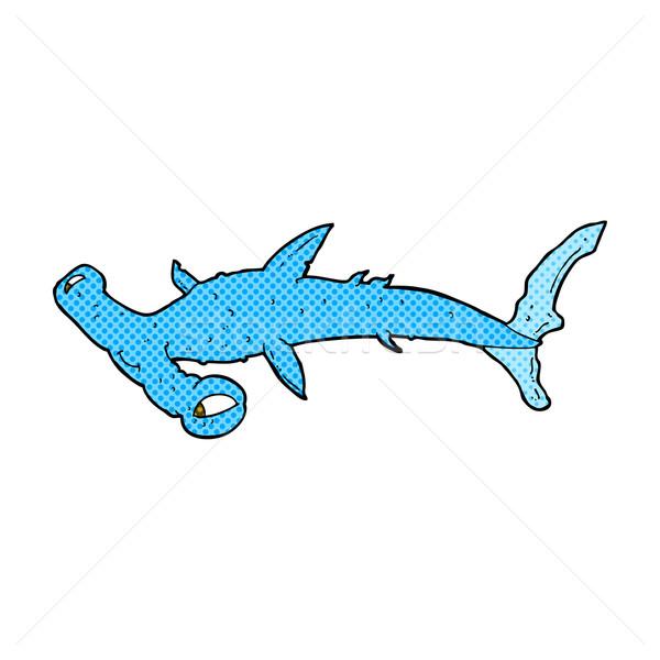 Fumetto cartoon squalo retro stile Foto d'archivio © lineartestpilot