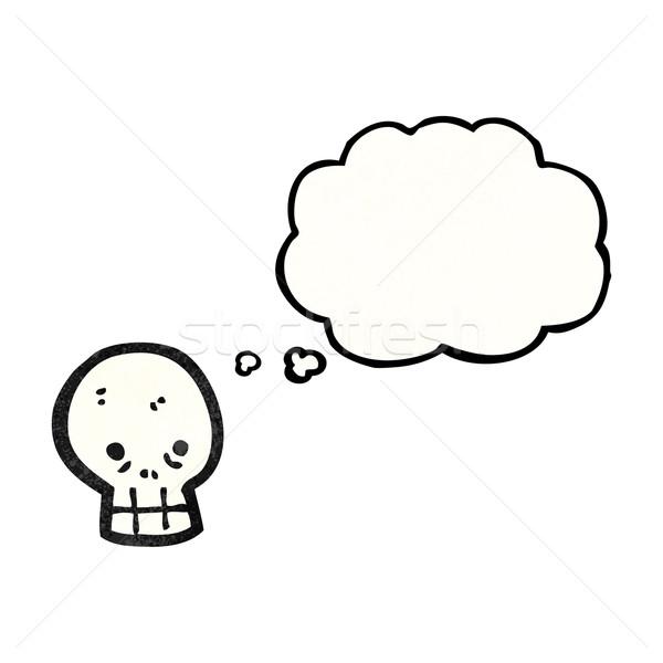 ストックフォト: 頭蓋骨 · 思考バブル · 漫画 · 話し · レトロな · 思考
