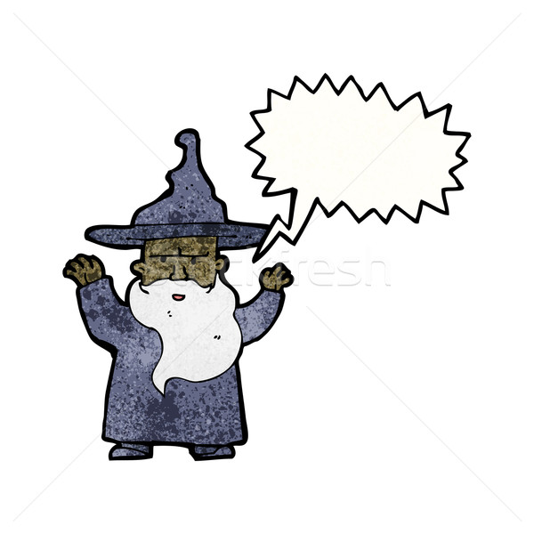 cartoon wizard casting spell Stock photo © lineartestpilot